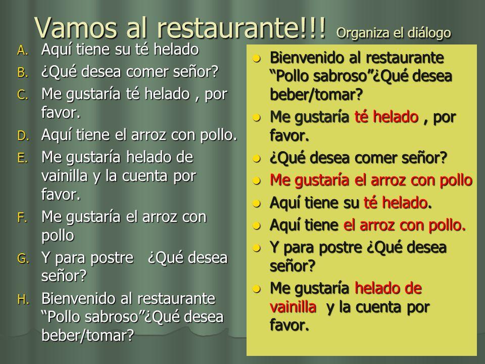 Vamos al restaurante!!! Organiza el diálogo