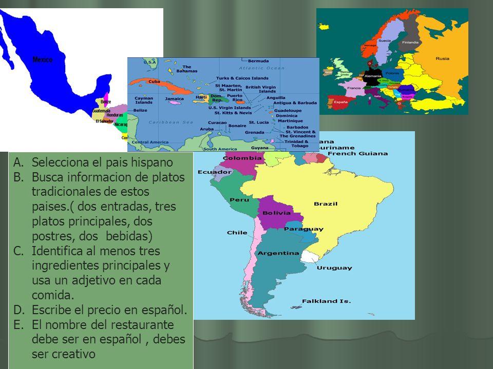 Selecciona el pais hispano