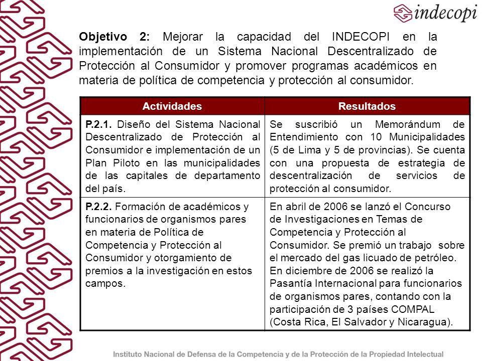 Objetivo 2: Mejorar la capacidad del INDECOPI en la implementación de un Sistema Nacional Descentralizado de Protección al Consumidor y promover programas académicos en materia de política de competencia y protección al consumidor.