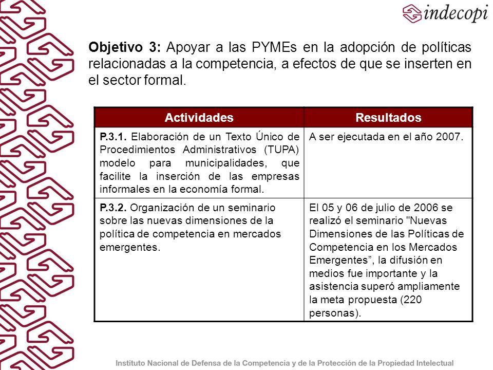 Objetivo 3: Apoyar a las PYMEs en la adopción de políticas relacionadas a la competencia, a efectos de que se inserten en el sector formal.