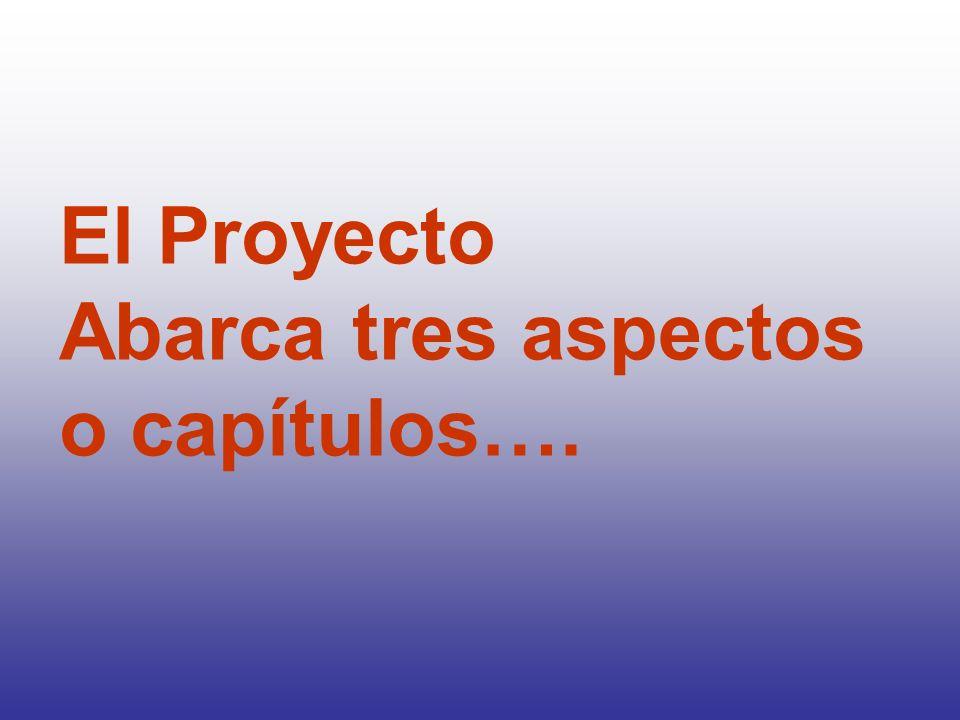 El Proyecto Abarca tres aspectos o capítulos….