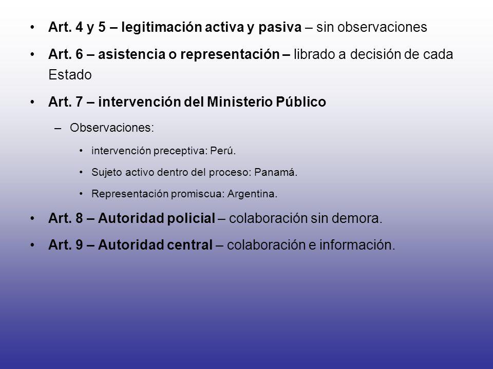 Art. 4 y 5 – legitimación activa y pasiva – sin observaciones