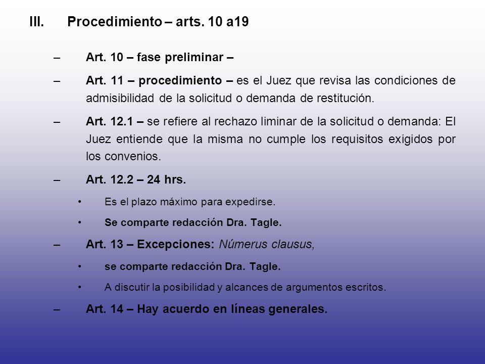 Procedimiento – arts. 10 a19 Art. 10 – fase preliminar –