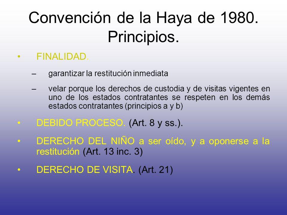 Convención de la Haya de 1980. Principios.