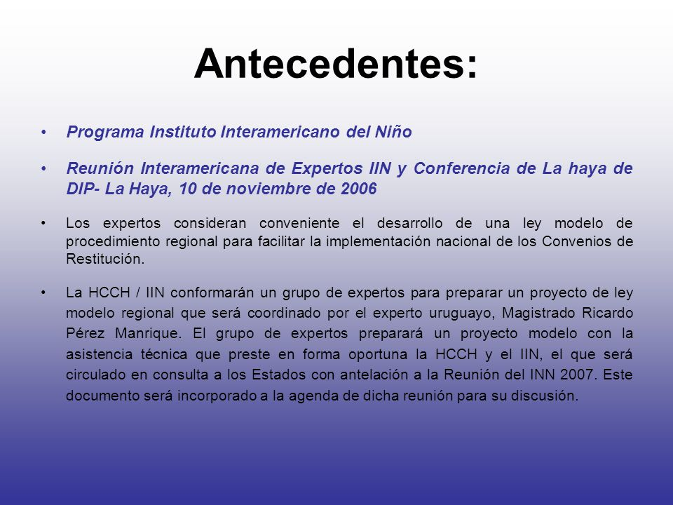 Antecedentes: Programa Instituto Interamericano del Niño