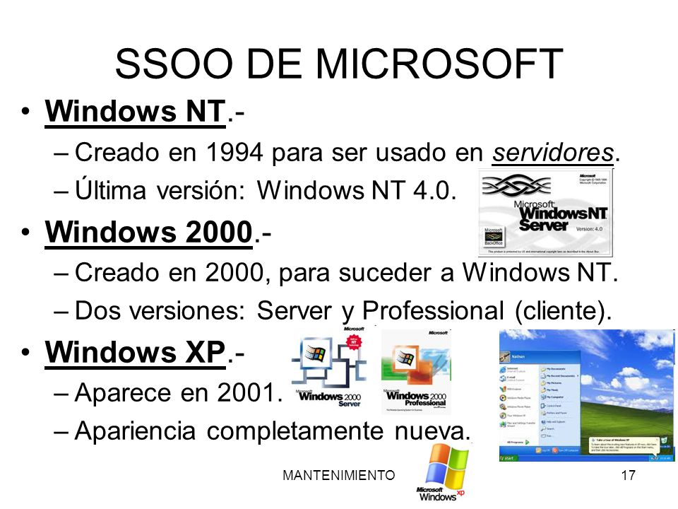 SSOO DE MICROSOFT Windows NT.- Windows Windows XP.-