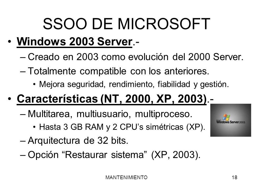 SSOO DE MICROSOFT Windows 2003 Server.-