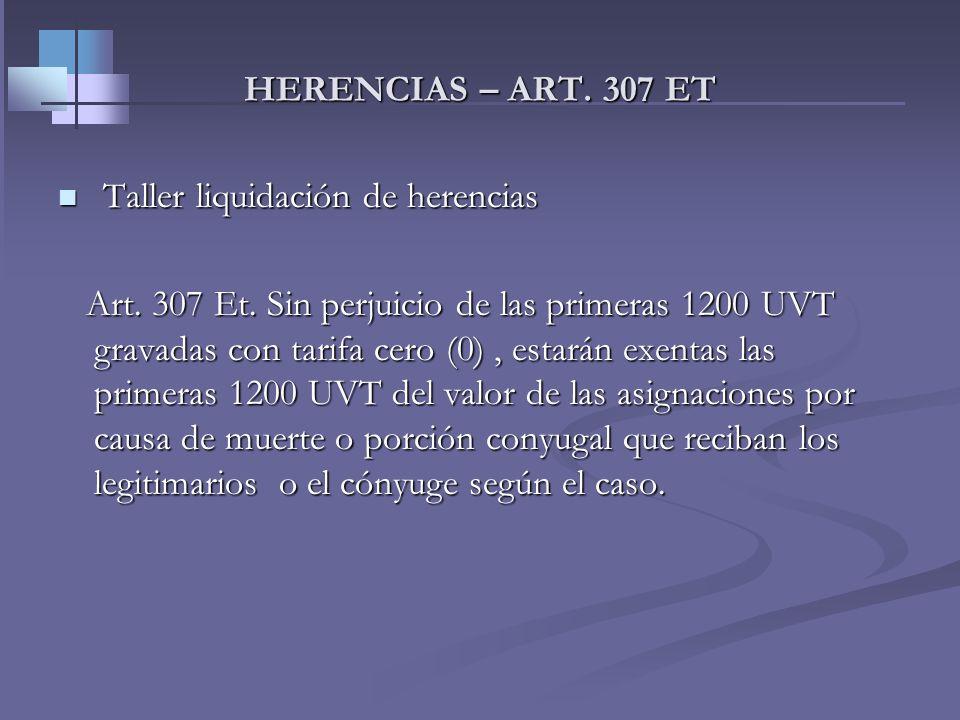 HERENCIAS – ART. 307 ETTaller liquidación de herencias.
