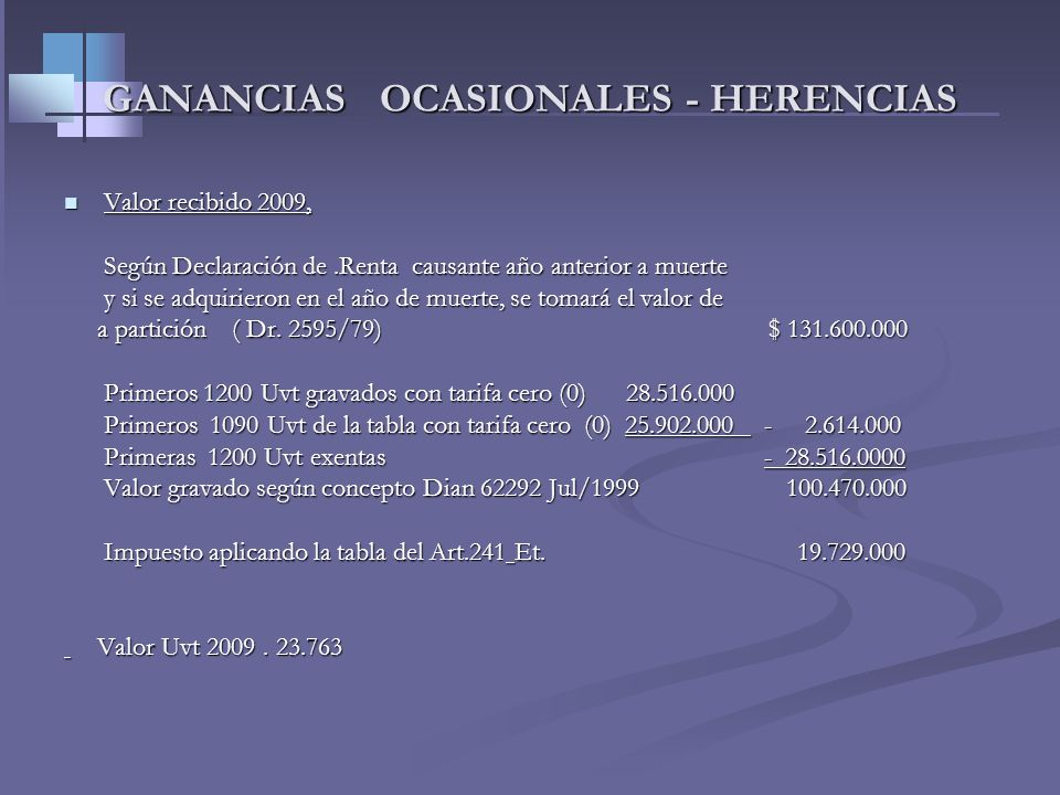 GANANCIAS OCASIONALES - HERENCIAS