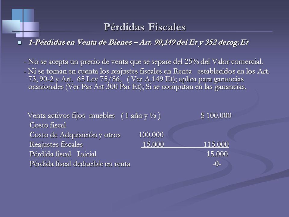Pérdidas Fiscales1-Pérdidas en Venta de Bienes – Art. 90,149 del Et y 352 derog.Et.
