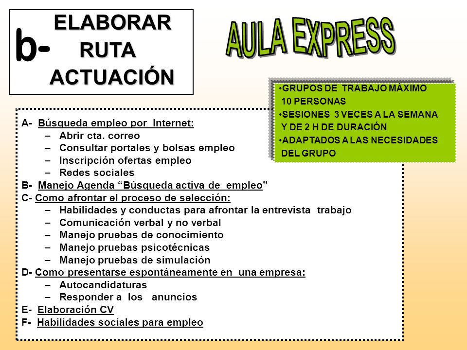 AULA EXPRESS b- ELABORAR RUTA ACTUACIÓN