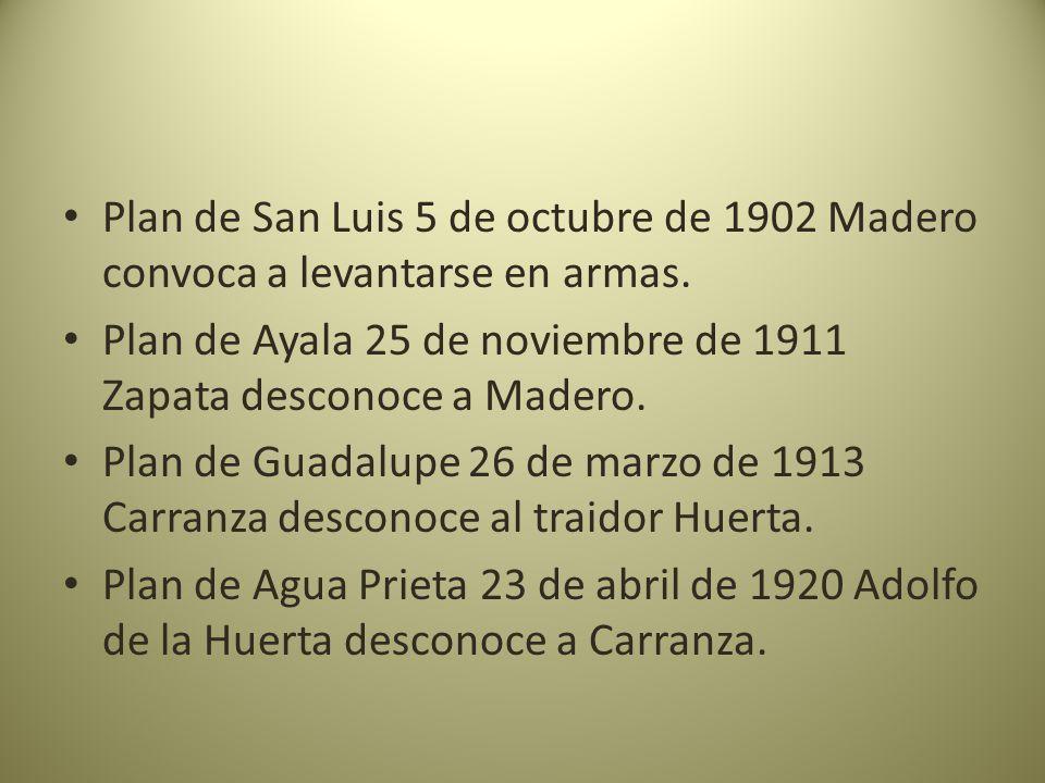 Plan de San Luis 5 de octubre de 1902 Madero convoca a levantarse en armas.