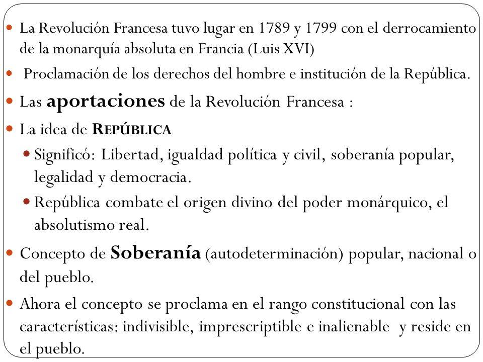 Las aportaciones de la Revolución Francesa : La idea de República
