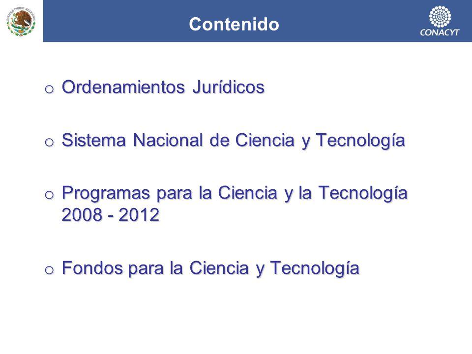Contenido Ordenamientos Jurídicos. Sistema Nacional de Ciencia y Tecnología. Programas para la Ciencia y la Tecnología 2008 - 2012.