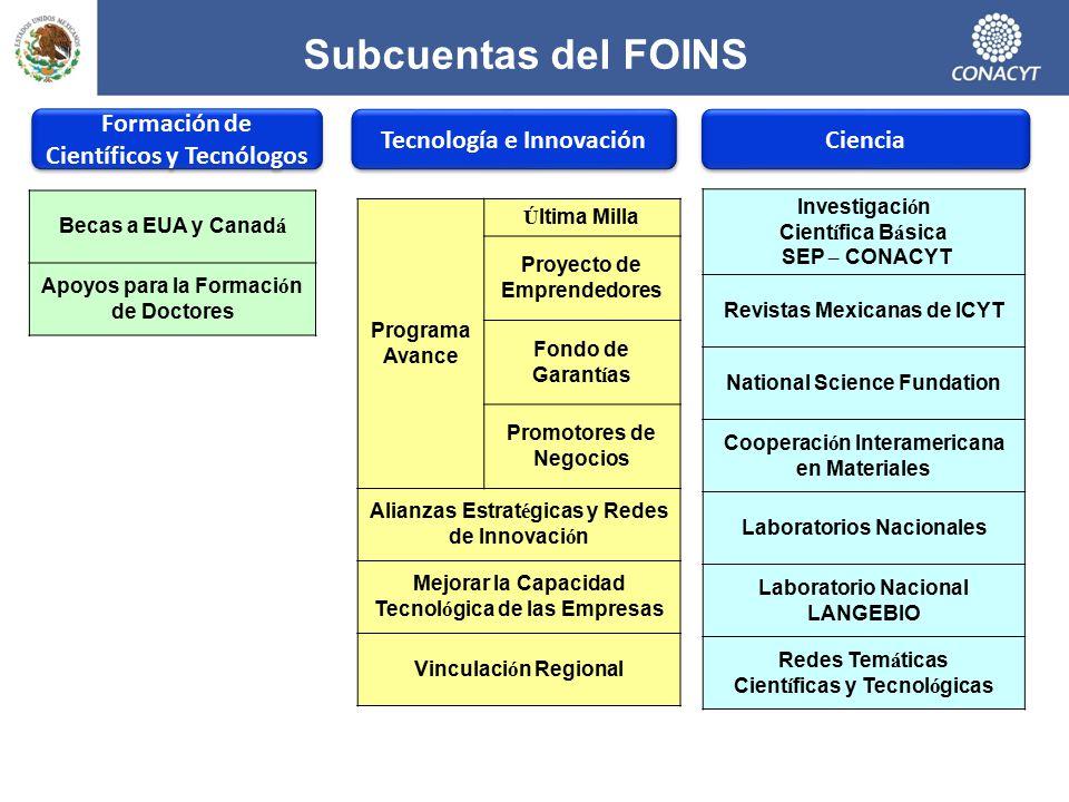 Subcuentas del FOINS Formación de Científicos y Tecnólogos