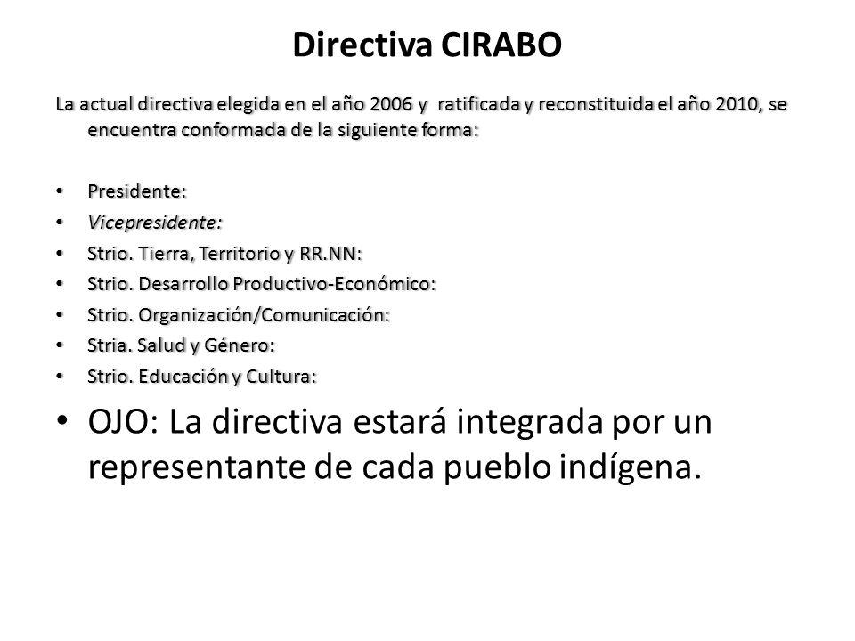 Directiva CIRABO La actual directiva elegida en el año 2006 y ratificada y reconstituida el año 2010, se encuentra conformada de la siguiente forma: