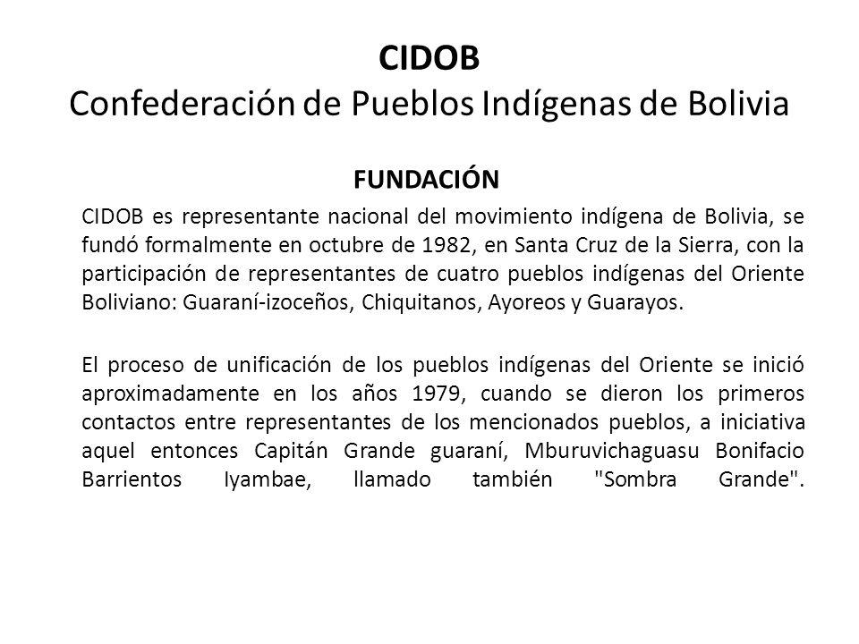 CIDOB Confederación de Pueblos Indígenas de Bolivia