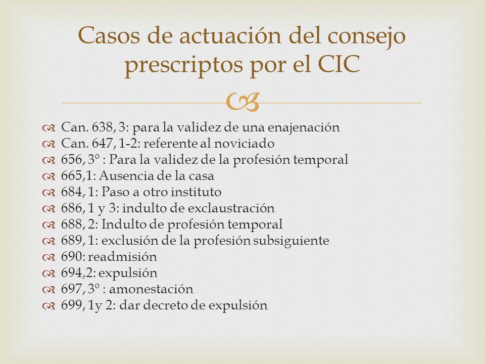 Casos de actuación del consejo prescriptos por el CIC
