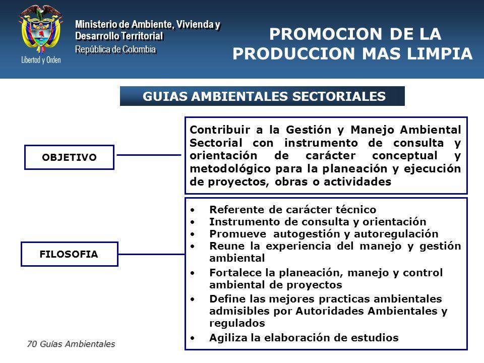 PROMOCION DE LA PRODUCCION MAS LIMPIA GUIAS AMBIENTALES SECTORIALES
