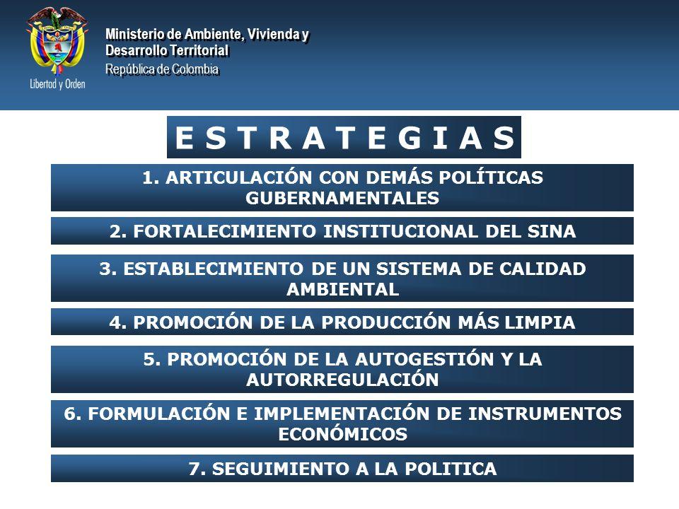 E S T R A T E G I A S 1. ARTICULACIÓN CON DEMÁS POLÍTICAS GUBERNAMENTALES. 2. FORTALECIMIENTO INSTITUCIONAL DEL SINA.