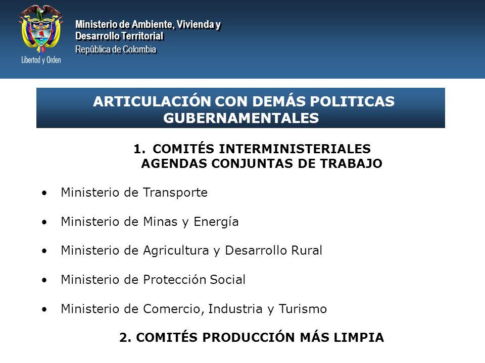 ARTICULACIÓN CON DEMÁS POLITICAS GUBERNAMENTALES