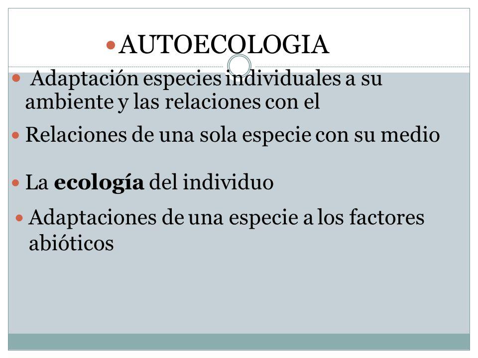 AUTOECOLOGIA Adaptación especies individuales a su ambiente y las relaciones con el. Relaciones de una sola especie con su medio.
