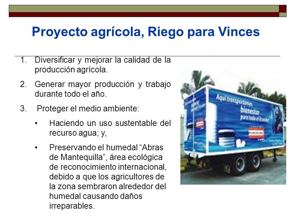 Proyecto agrícola, Riego para Vinces