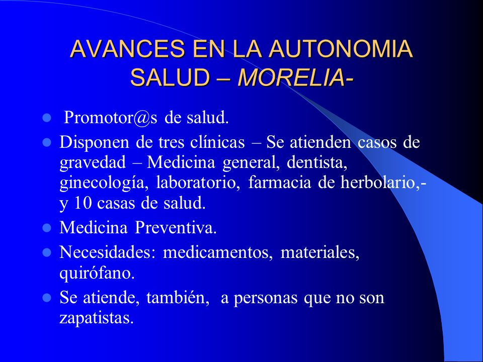 AVANCES EN LA AUTONOMIA SALUD – MORELIA-