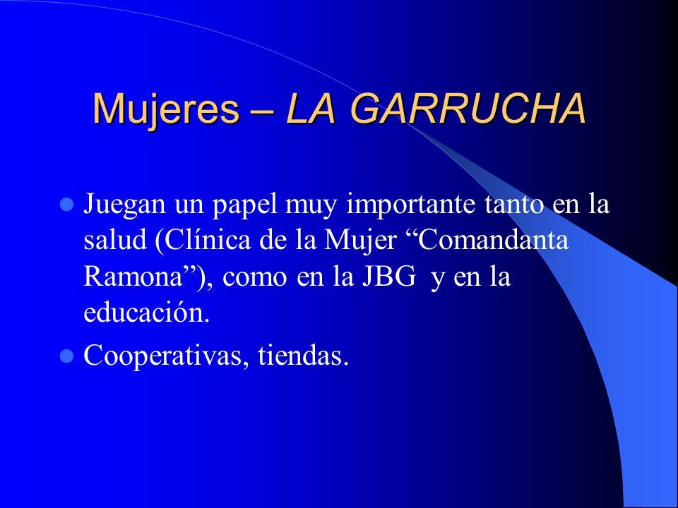 Mujeres – LA GARRUCHA Juegan un papel muy importante tanto en la salud (Clínica de la Mujer Comandanta Ramona ), como en la JBG y en la educación.