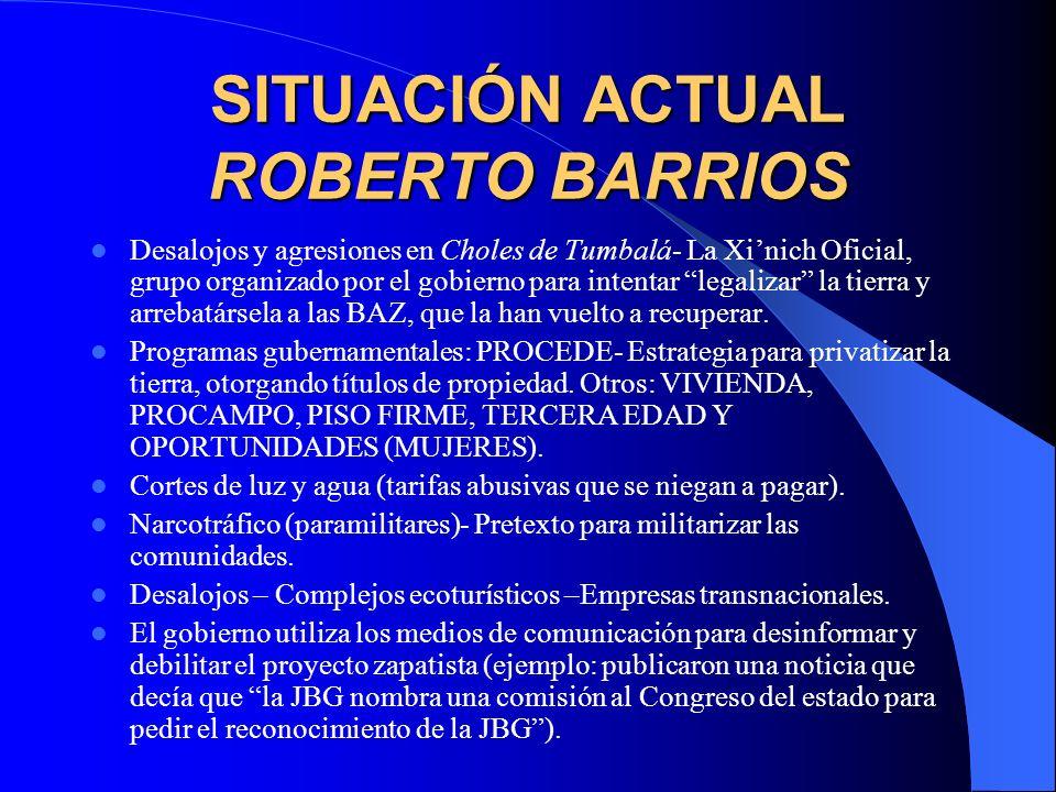 SITUACIÓN ACTUAL ROBERTO BARRIOS