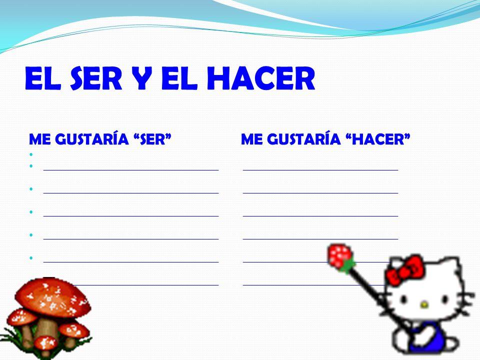 EL SER Y EL HACER ME GUSTARÍA SER ME GUSTARÍA HACER