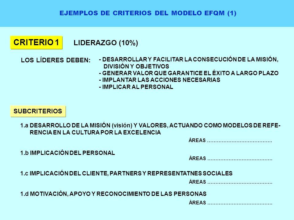 EJEMPLOS DE CRITERIOS DEL MODELO EFQM (1)