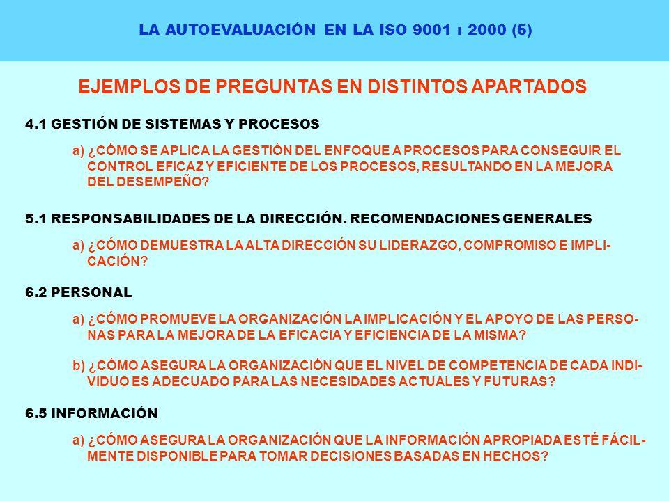 EJEMPLOS DE PREGUNTAS EN DISTINTOS APARTADOS