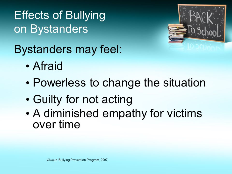 the history and effects of bullying at school In the first lesson of this three-lesson unit, the students define bullying and identify the effects of bullying behavior on the individuals involved and the larger community.