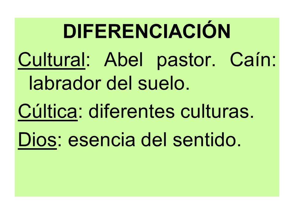 DIFERENCIACIÓN Cultural: Abel pastor. Caín: labrador del suelo.