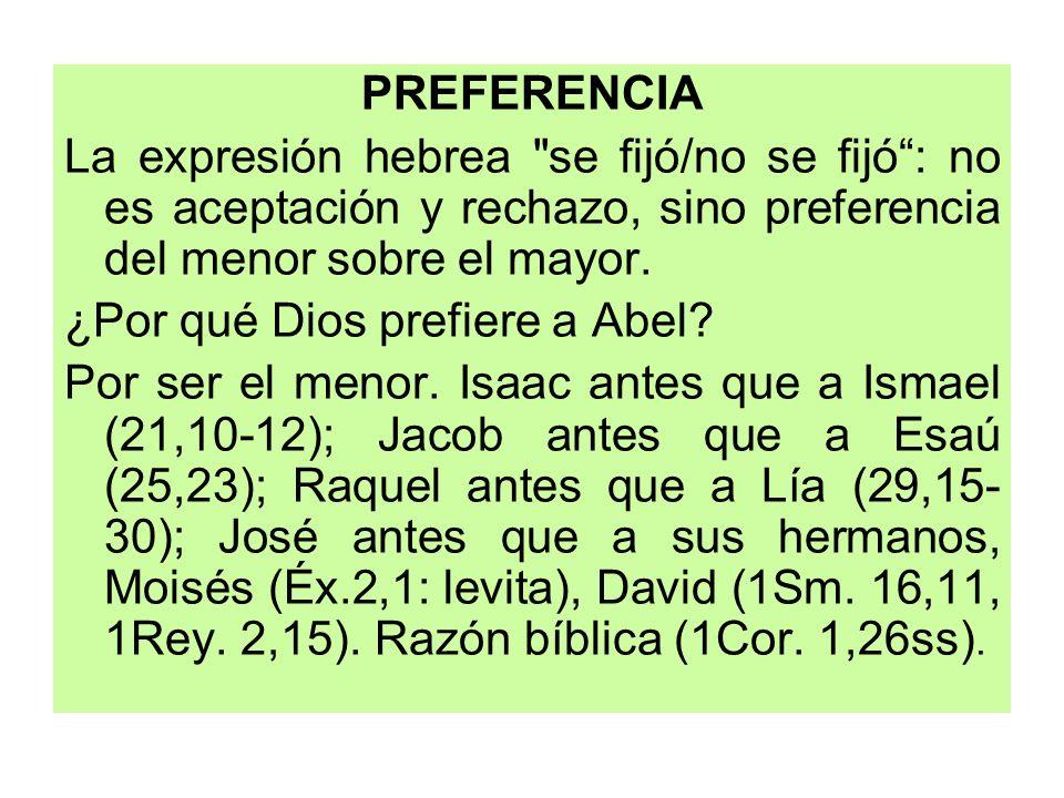 PREFERENCIALa expresión hebrea se fijó/no se fijó : no es aceptación y rechazo, sino preferencia del menor sobre el mayor.