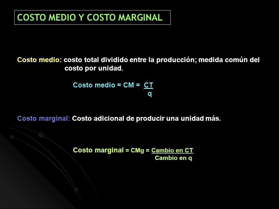 COSTO MEDIO Y COSTO MARGINAL
