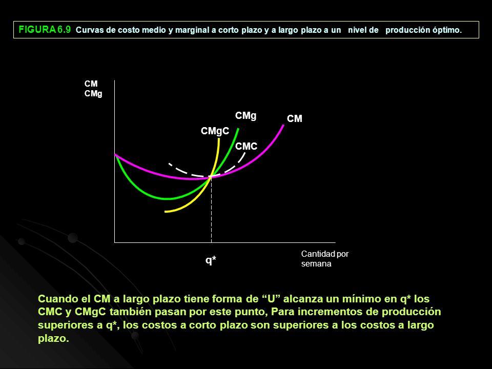 FIGURA 6.9 Curvas de costo medio y marginal a corto plazo y a largo plazo a un nivel de producción óptimo.
