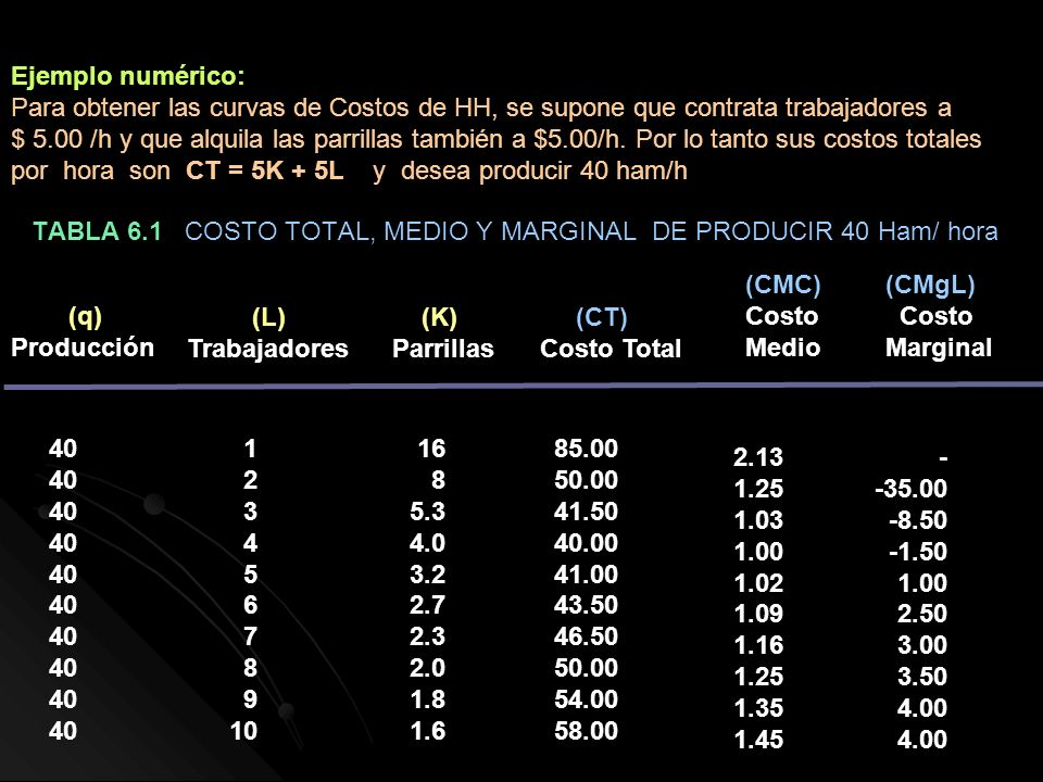 TABLA 6.1 COSTO TOTAL, MEDIO Y MARGINAL DE PRODUCIR 40 Ham/ hora