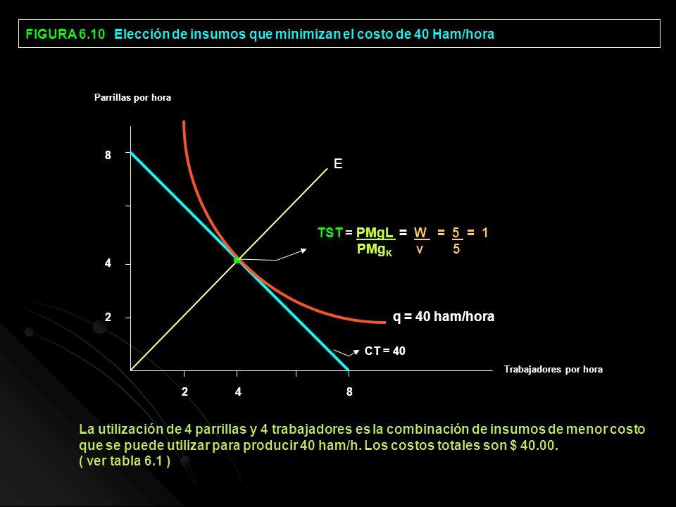 FIGURA 6.10 Elección de insumos que minimizan el costo de 40 Ham/hora