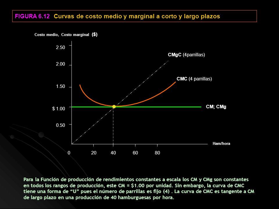 • FIGURA 6.12 Curvas de costo medio y marginal a corto y largo plazos