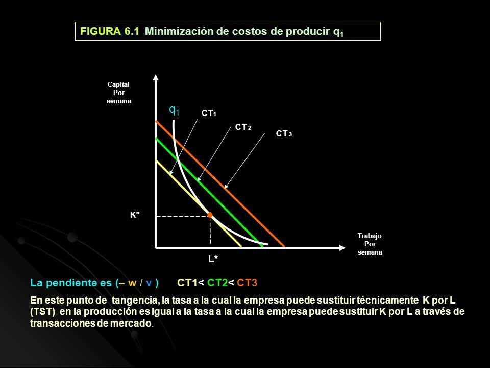 q1 ● FIGURA 6.1 Minimización de costos de producir q1