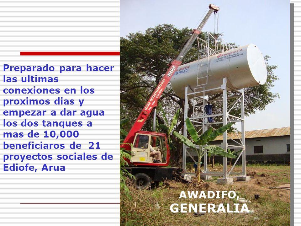Preparado para hacer las ultimas conexiones en los proximos dias y empezar a dar agua los dos tanques a mas de 10,000 beneficiaros de 21 proyectos sociales de Ediofe, Arua.