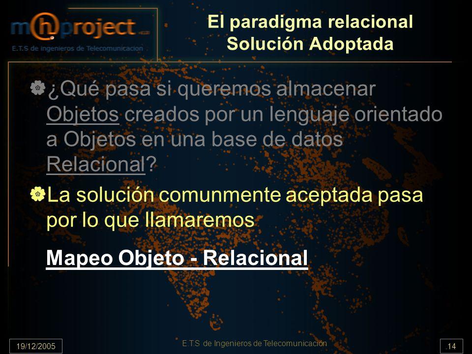 El paradigma relacional Solución Adoptada