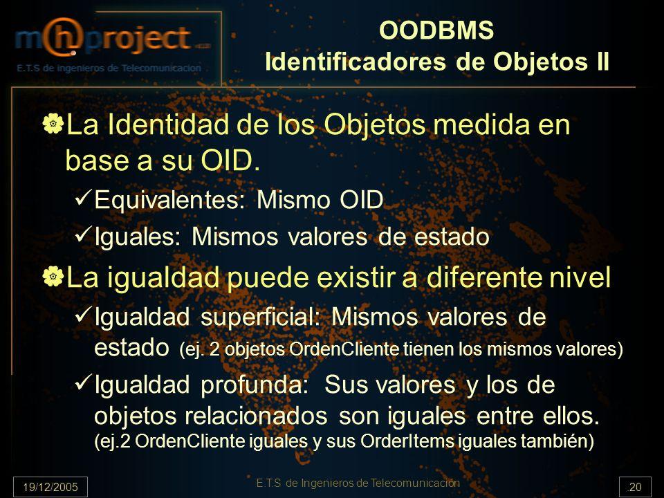 OODBMS Identificadores de Objetos II