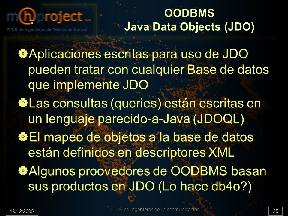OODBMS Java Data Objects (JDO)