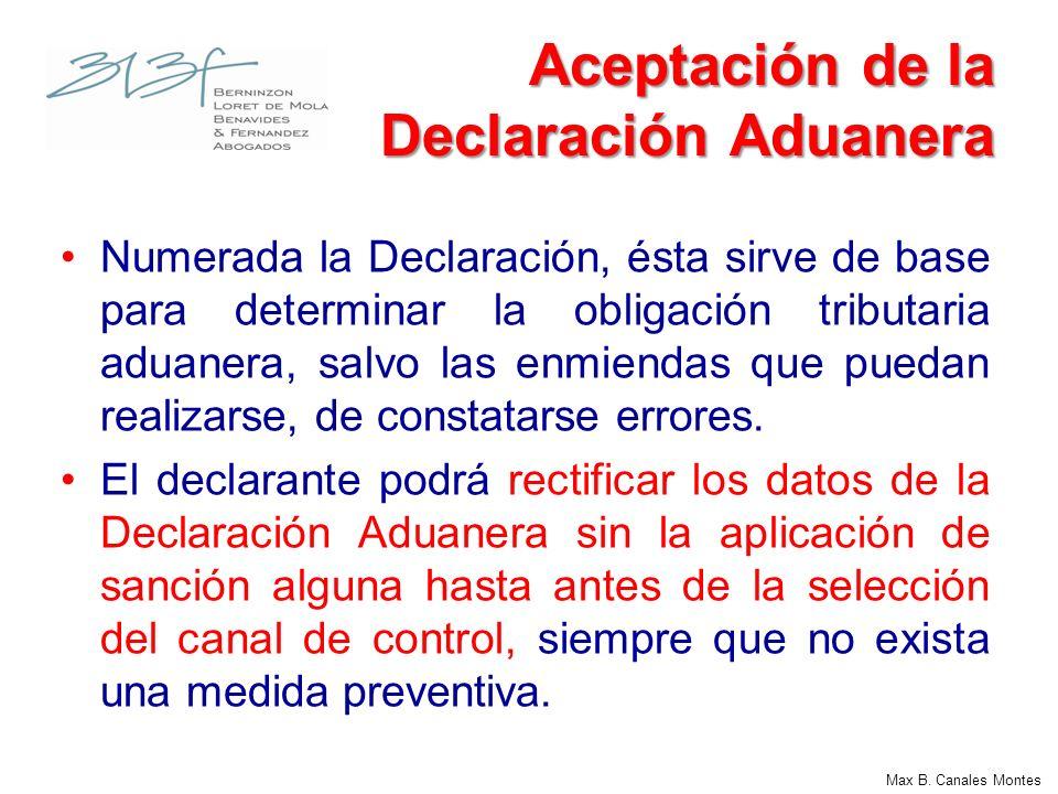 Aceptación de la Declaración Aduanera