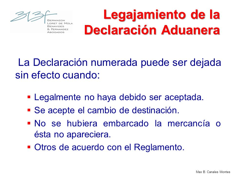 Legajamiento de la Declaración Aduanera