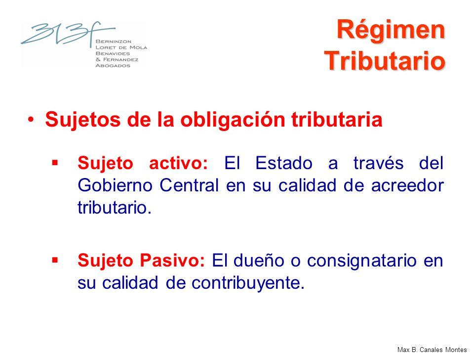Régimen Tributario Sujetos de la obligación tributaria