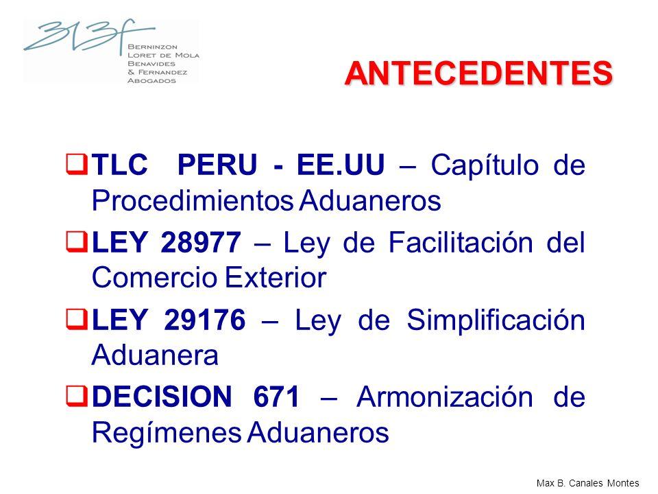 ANTECEDENTES TLC PERU - EE.UU – Capítulo de Procedimientos Aduaneros